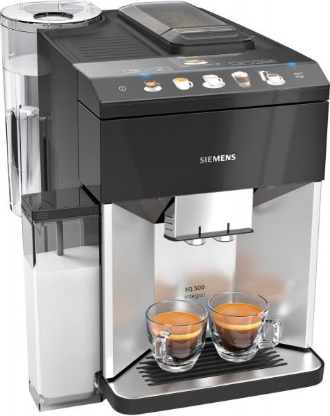Siemens TQ503D01 EQ.500 Kaffeevollautomat, Silber, Klavierlack schwarz