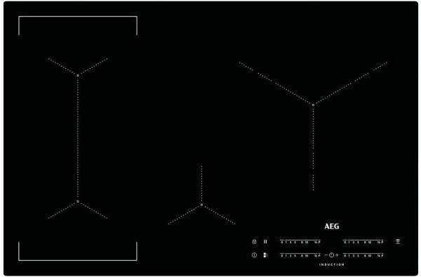 AEG IKE84445IB Kochfeld, Induktion, flächenbündig, 80 cm, schwarz